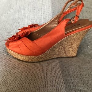 "CL By Laundry ""Ilena"" Orange Cork Wedges"